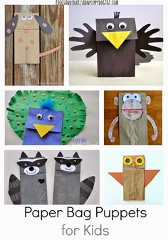 Paper Bag Puppets for Kids-Great (and easy!) ideas for making puppets with brown paper bags (and a few other colors too)