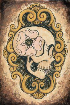 Vanity Archival Paper Print by Shayne Sugar Love, Sugar Skull Art, Mexican Art, Skulls, Art Reference, Stencils, Tattoo Ideas, Doodles, Artsy