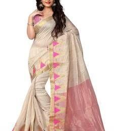 Buy Pink printed cotton_silk saree With Blouse banarasi-saree online