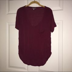 Charlotte Russe Top Red/Wine color top from Charlotte Russe, size M, gently used and still in good condition. One pocket & short sleeved. Charlotte Russe Tops Tees - Short Sleeve