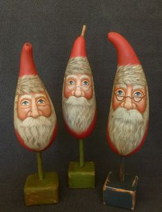Santa gourd on wooden base with Believe by POPLARHOLLOWSTUDIO