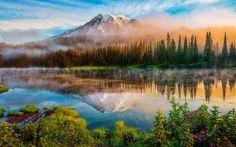 Washington, Cascade Mountains, morning, forest, lake, mist, sunrise wallpaper 1920x1200