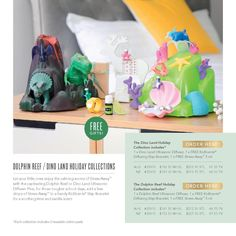 Let your little ones enjoy the calming aroma of Stress Away™️ with the captivating Dino Land Ultrasonic Diffuser. Plus, for those tougher school days, add a few drops of Stress Away™️ to a handy KidScents®️ Slap Bracelet for a soothing lime and vanilla scent.The Dino Land Holiday Collection includes:1 x Dino Land Ultrasonic Diffuser1 x FREE KidScents®️ Diffusing Slap Bracelet1 x FREE Stress Away™️ 5 ml