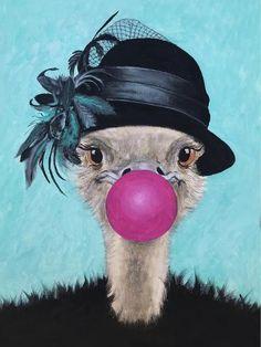 Art Print: Retro Ostrich With Bubblegum by Coco de Paris : Paris Poster, Banksy Art, Ostriches, Animal Faces, Art Plastique, Stretched Canvas Prints, Bird Art, Lovers Art, Coco