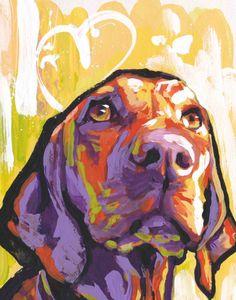 "Hungarian Vizsla modern Dog art print of pop dog art painting bright colors 8.5x11"" LEA"