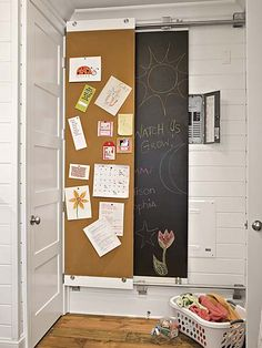 cover electric panel with sliding board with chalkboard paint -- or is it too high for the kids anyway
