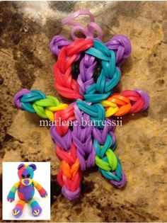 Multicolored bear rainbow loom - Follow Dana Lenz panda tutorial