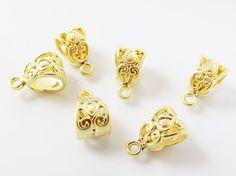 6 Ornate Bead Pendant Bail Charm Holder Slider  by LylaSupplies, $4.00