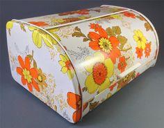 Vintage/retro 60s-70s psychedelic metal bread bin orange/yellow -kitchenalia