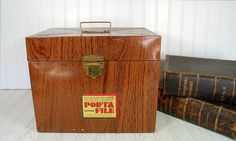 Industrial Litho Wood Grain Metal OverSized Check File Box - Vintage Ballonoff Porta-File XL Carrier - Retro Faux Wooden Case Original Label $27.00 by DivineOrders
