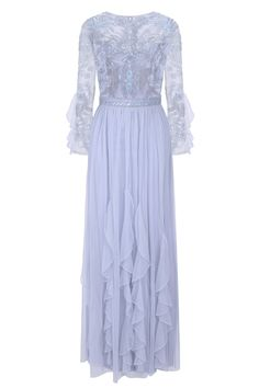 Frock and Frill Georgina Light Blue Embellished Maxi Dress with Ruffled Skirt and ¾ Length Bracelet Sleeves Embellished Bridesmaid Dress, Embellished Dress, Affordable Prom Dresses, Formal Dresses For Weddings, Formal Gowns, Frock And Frill, Frill Dress, Halter Neck Maxi Dress, Maxi Dress With Sleeves
