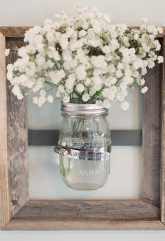 Rustic mason jar wall vase tips, tricks & great ideas ev düzenleme, ev Rustic Frames, Wood Frames, Rustic Mason Jars, Deco Originale, Decoration Inspiration, Decor Ideas, Mason Jar Crafts, Rustic Decor, Diy Home Decor