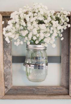 Mason Jar Wall Vase with Rustic Frame. $29.99, via Etsy.
