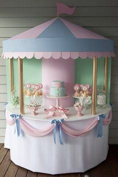 Mary Poppins Party! My kids will never have a party this elaborate but the carousel cake table is super adorable, it could be done for a baby shower or baby's first birthday or something.