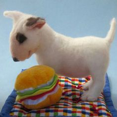 Needle Felted Life Sized English Bull Terrier Puppy Dog by Artist R J Andreae Needle Felted Animals, Felt Animals, Needle Felting, Animals And Pets, Baby Animals, Cute Animals, English Bull Terrier Puppy, British Bull Terrier, Felt Dogs