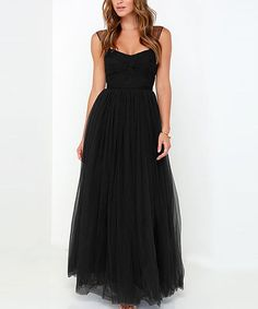 Look at this HaoYouDuo Black Tulle Maxi Dress on #zulily today!
