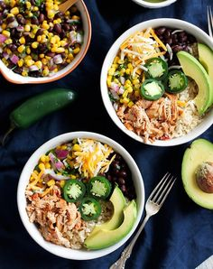 Later, chipotle. Get the recipe for these tasty chicken burrito bowls here.