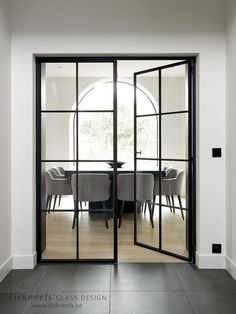 What I would give to have these style of doors btwn living & dining room Steel Doors And Windows, Wrought Iron Doors, Inside Doors, Internal Doors, Glass Door, Home Deco, Home Interior Design, New Homes, House Styles