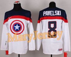"$34.88 per one, welcome email ""MaryJersey"" at maryjerseyelway@gmail.com for Olympic Team USA 8 Joe Pavelski White Captain America Fashion Stitched NHL Jersey"