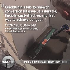 When faced with the challenge of converting 250 bathtubs to walk-in showers at the Renaissance Phoenix Downtown Hotel while causing minimal disruptions to the hotel operations, Pursuit Builders opted for QuickDrain shower pans and linear drains for their flexible installation – avoiding jackhammering or core drilling. Read more about the project in our case study. #casestudy #quickdrain #hoteldesign #showerdesign #tubtoshower Shower Pan, Walk In Shower, Hotel Bathroom Design, Tub To Shower Conversion, Linear Drain, Downtown Hotels, Bathtubs, Case Study, Renaissance