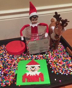 Perler Bead Elf on the Shelf