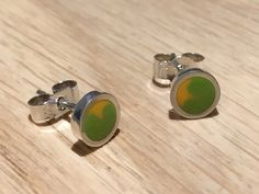 Citrus studs - handmade in sterling silver & lime green / yellow resin