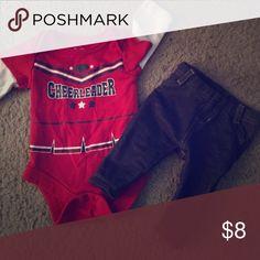 Newborn girls two piece outfit Super cute newborn girls cheerleader long sleeve onesie and blue jean jeggings Matching Sets