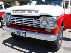 original classic ford truck photos | The red and white made the outside of the truck bright and attractive ...