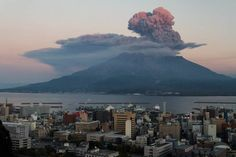 Sakurajima Volcano Sakurajima is an active volcano and can be seen from Kagoshima city across the Kagoshima Bay.