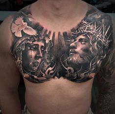 15 Super Ideas For Tattoo Wolf Chest Art Floral Thigh Tattoos, Leg Tattoos, Sleeve Tattoos, Tattoos For Guys, Full Chest Tattoos, Chest Piece Tattoos, Christ Tattoo, Jesus Tattoo, Badass Tattoos