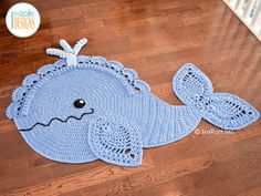 Crochet Pattern PDF for making a beautiful Whale Animal Rug or Nursery Mat with…