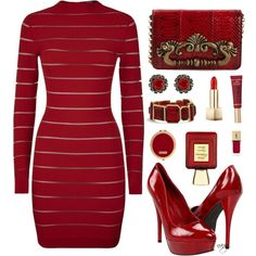 Go Red by nans-g on Polyvore featuring moda, Balmain, Call it SPRING, Dolce&Gabbana, Chico's, Konplott, Burberry, Too Faced Cosmetics, Bella Bellissima and Henri Bendel