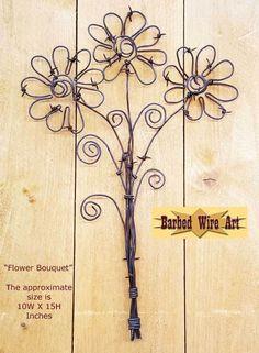 Flower+Bouquet+-+handmade+metal+artist+barbed+wire+art+farm+country+sculpture+