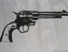 Andy Warhol - Gun, c. 1981 (black on gray)