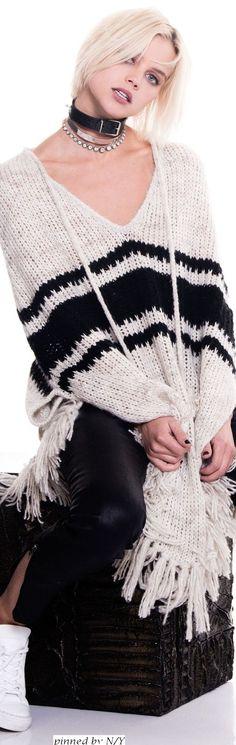 Pam & Gela FW-16/17, black & white: poncho, leather pants.