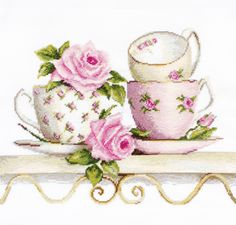 Cross Stitch Kit Roses and tea cups DIY Cross stitch Set Hand Embroidery Handmade gift Wall Decor Home decor Idea Gift – hand embroidery Cross Stitch Rose, Modern Cross Stitch, Cross Stitch Designs, Cross Stitch Patterns, Cross Stitch Embroidery, Embroidery Patterns, Hand Embroidery, Cross Stitching, Needlepoint Kits