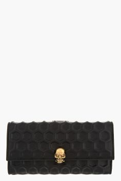 ALEXANDER MCQUEEN Black 3D Honeycomb Napa leather Continental Wallet