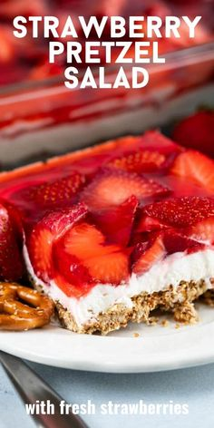 Make this Classic Strawberry Pretzel Salad Recipe with fresh strawberries! Read all my tips to make the perfect potluck summer dessert with a pretzel crust! Tart Recipes, Cheesecake Recipes, Baking Recipes, Sweet Recipes, Cookie Recipes, Kitchen Recipes, Homemade Cheesecake, Jello Recipes, Baking Tips