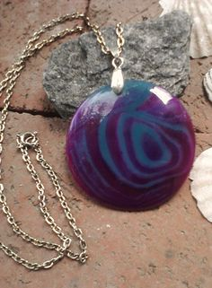"Purple & Green Teal Agate Uni Sex Pendant by SinginHoundBeadz UNI SEX pendant on stainless - wicked - ""SWEET"" V-Day gift for ....?  Affordable, OOAK!"