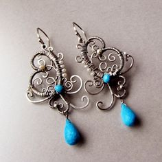 Sterling silver filigree earrings with large by NoriaJewelry, $181.00