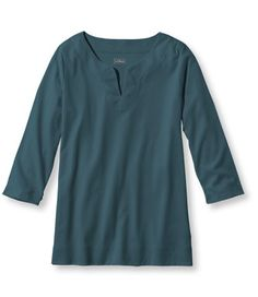 Pima Cotton Tee, Three-Quarter-Sleeve Splitneck Tunic