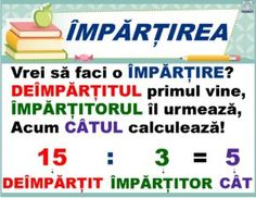 Planșe terminologie matematică - Împărțirea Education Quotes, Kids Education, Algebra, Little Einsteins, Positive Discipline, School Games, Kids And Parenting, Good To Know, Classroom
