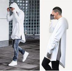 Estilo británico hombre sudaderas con capucha Hip Hop Streetwear cremallera larga arco corte extendido sudaderas Tyga ropa deportiva Bape Kanye West ropa