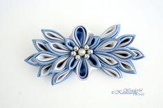 Gray and Blue Tsumami Kanzashi Fabric Flower by wonderfulkanzashi
