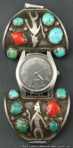 Watchband | Desginer ? (Navajo).   Sterling Silver, Turquoise and Coral.  ca. 1950