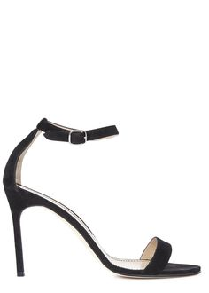 Manolo Blahnik black suede sandals Heel measures approximately 4 inches/ 105mm Open toe Buckle fastening ankle cuff
