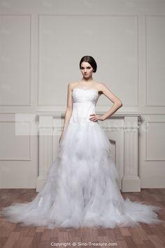White Princess Soft Brush/ Sweep Train Sweetheart Wedding Dresses -Wedding & Events-Wedding Dresses-Sweetheart Wedding Dresses