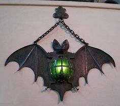 Bat light - make spiders, too, to hang on cemetery gate columns Halloween Holidays Halloween, Halloween Crafts, Halloween Decorations, Halloween Porch, Homemade Halloween, Halloween Ideas, Bat Light, Lampe Metal, Goth Home