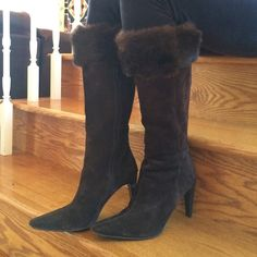 Suede long boot Beautiful, barely used, knee high brown boots. Ideal for the cold winter days! Side zipper. 8 inches (16 total) calf width. Leather lining. High quality fur trim. 4 inches heel. Gino Baldi Italy Shoes Heeled Boots