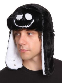 983f74d8c4f Super soft fleece Jack Skellington bomber style hat that reverses from  white to black! One size fits most
